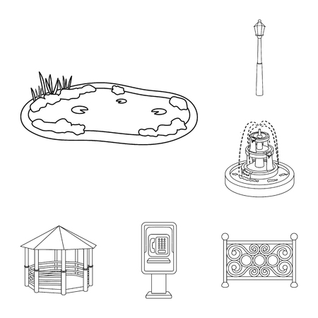 Park, equipment outline icons in set collection for design. Walking and rest vector symbol stock illustration.