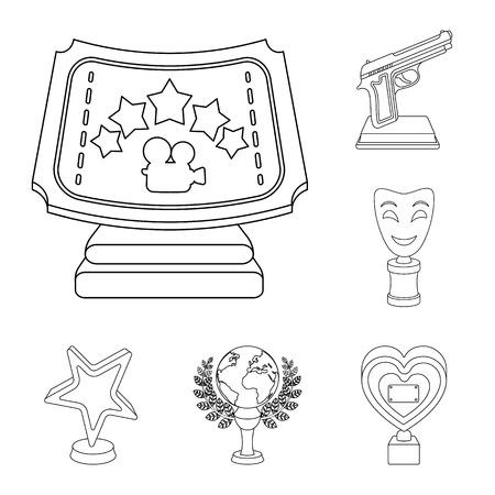 Filmprijzen en prijzen schetsen pictogrammen in setcollectie voor ontwerp. De World Film Academy vector symbool stock web illustratie. Vector Illustratie