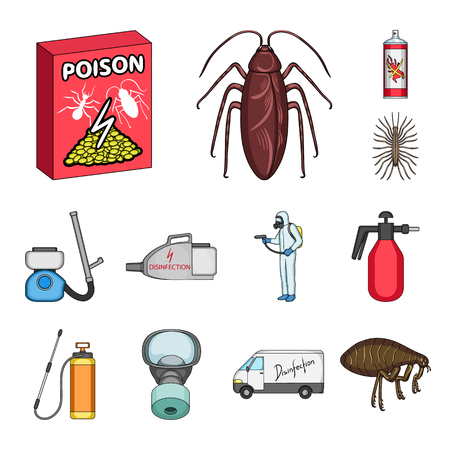 Pest, poison, personnel and equipment cartoon icons in set collection for design. Pest control service vector symbol stock web illustration. Vectores