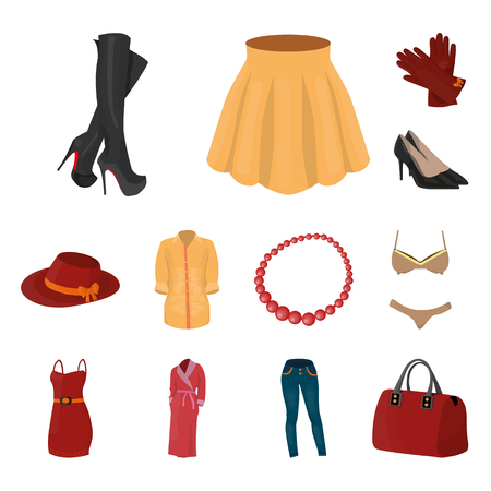 Women Clothing cartoon icons in set collection for design.Clothing Varieties and Accessories vector symbol stock illustration.
