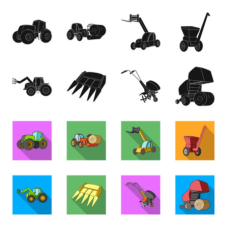 Motoblock and other agricultural devices. Agricultural machinery set collection icons in black,flet style vector symbol stock illustration .