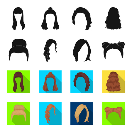 Blond with a bunch, red wavy and other types of hair. Back hair set collection icons in black,flet style vector symbol stock illustration web. Ilustração