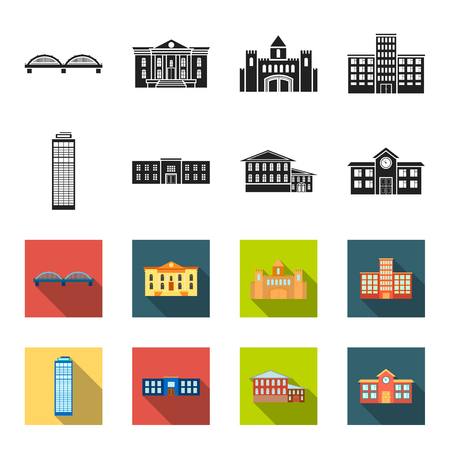 Skyscraper, police, hotel, school.Building set collection icons in black,flet style vector symbol stock illustration web.