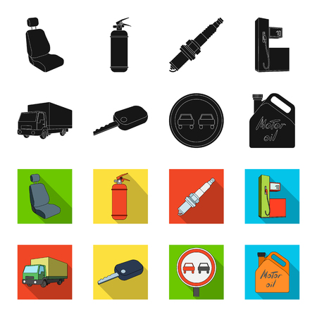 Truck with awning, ignition key, prohibitory sign, engine oil in canister, Vehicle set collection icons in black,flet style vector symbol stock illustration web.