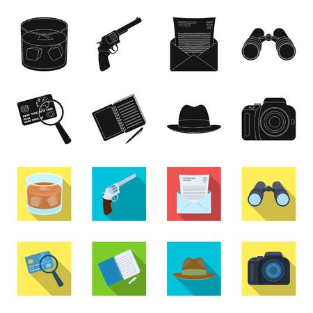 Camera, magnifier, hat, notebook with pen.Detective set collection icons in black,flet style vector symbol stock illustration web. Illustration