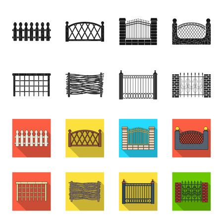 A fence of metal and bricks,wooden palisade. A different fence set collection icons in black,flet style vector symbol stock illustration web.