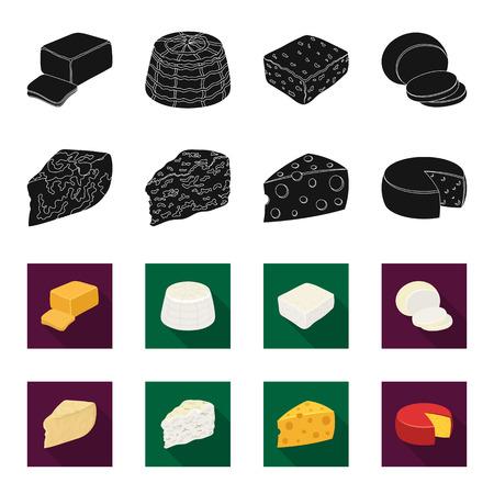 パルメザン、ロケフォート、マースダム、ガウダ。黒、フレッタスタイルベクターシンボルストックイラストのチーズセットコレクションアイコンの異なるタイプ。 写真素材 - 97818922