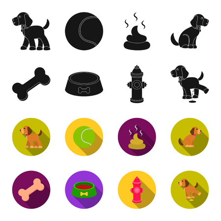 A bone, a fire hydrant, a bowl of food, a pissing dog.Dog set collection icons in black,flet style vector symbol stock illustration web. Çizim