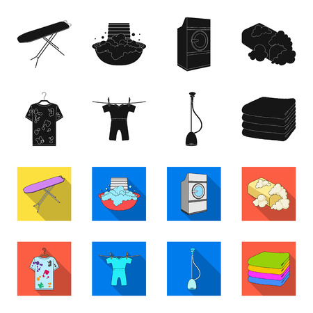 Vacuum cleaner, a stack of cloth, dirty and clean things. Dry cleaning set collection icons in black,flet style vector symbol stock illustration web.