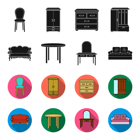 Sofa, armchair, table, mirror .Furniture and home interiorset collection icons in black,flet style vector symbol stock illustration .