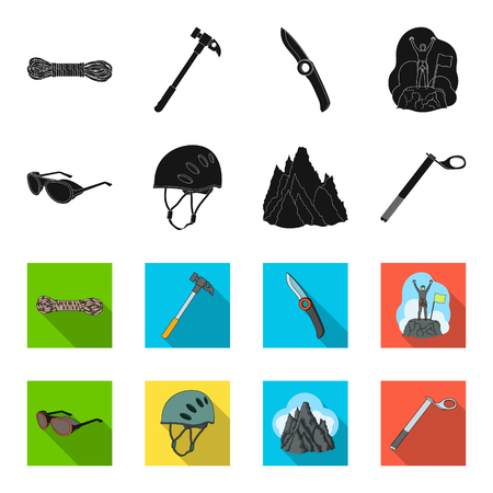 Helmet, goggles, wedge safety, peaks in the clouds.Mountaineering set collection icons in black,flet style vector symbol stock illustration web. Reklamní fotografie - 97937470
