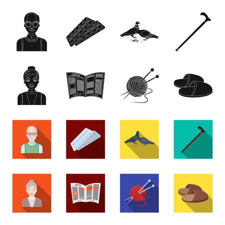An elderly woman, slippers, a newspaper, knitting.Old age set collection icons in black,flet style vector symbol stock illustration .