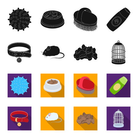 A collar, a forage, a toy, a cage and other products of the zoo store.Pet shop set collection icons in black,flet style vector symbol stock illustration web. Çizim