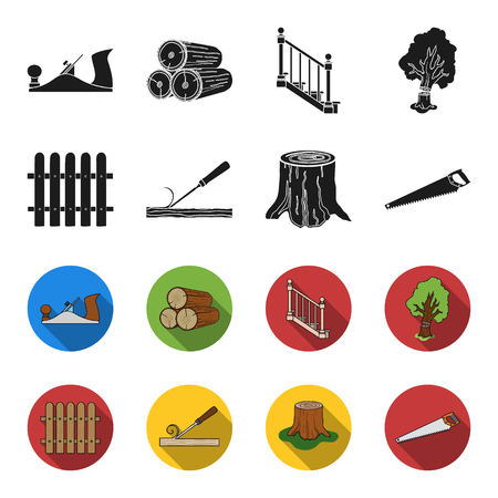 Fence, chisel, stump, hacksaw for wood. Lumber and timber set collection icons in black,flet style vector symbol stock illustration web.
