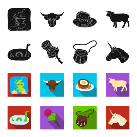 Loch Ness monster, thistle flower, unicorn, sporan. Scotland country set collection icons in black,flet style vector symbol stock illustration .