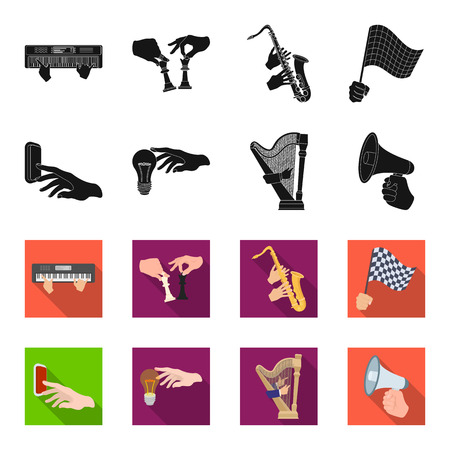 Electric switch button, incandescent lamp and other  icon in black,flet style. harp playing, Megaphone in hand icons in set collection. Illustration