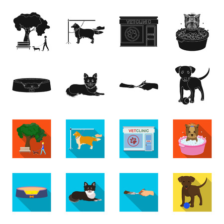 Lounger for a pet, clipping of claws in a vet clinic, lying dog, puppy with a ball. Vet clinic and pet,dog care set collection icons in black,flet style vector symbol stock illustration .