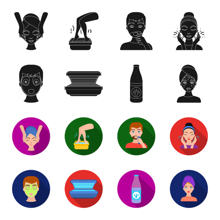 Face mask, solarium, bottle ts lasenom, pimples on face. Skin Care set collection icons in black,flet style vector symbol stock illustration .