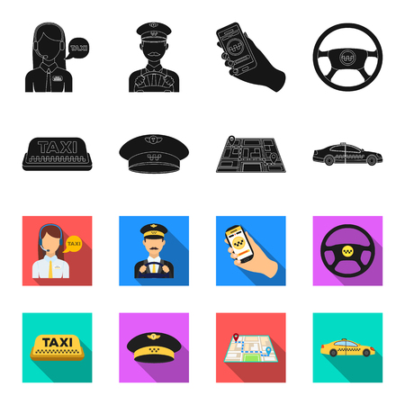 Yellow taxi inscription, a cap with a taxi badge, a map with a mark, a car with checkers. Taxi set collection icons in black,flet style vector symbol stock illustration .
