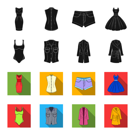Women Clothing black,flet icons in set collection for design.Clothing Varieties and Accessories vector symbol stock web illustration.  イラスト・ベクター素材