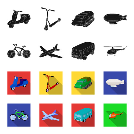 Bicycle, airplane, bus, helicopter types of transport. Transport set collection icons in black,flet style vector symbol stock illustration web. Vettoriali