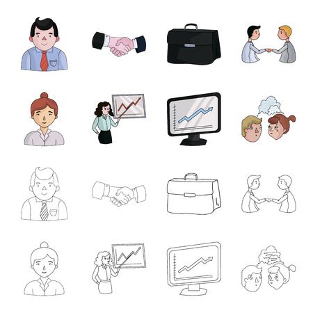 Businesswoman, growth charts, brainstorming.Business-conference and negotiations set collection icons in cartoon,outline style vector symbol stock illustration web.