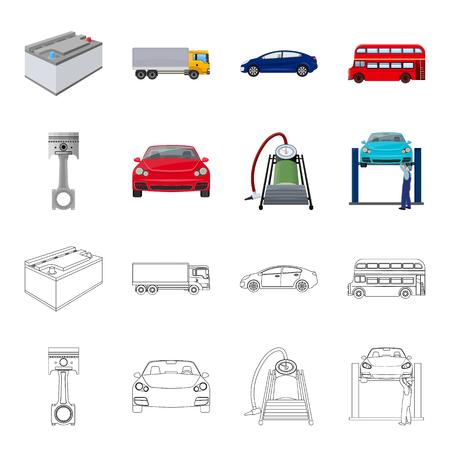 Voiture sur l'ascenseur, le piston et la caricature de la pompe, contour des icônes dans la collection de jeu pour la conception. Station d'entretien de voiture vecteur symbole stock illustration web.