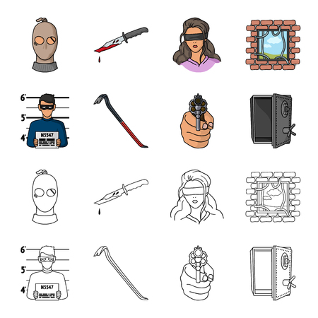 A Photo of criminal, scrap, open safe, directional gun.Crime set collection icons in cartoon,outline style vector symbol stock illustration web.
