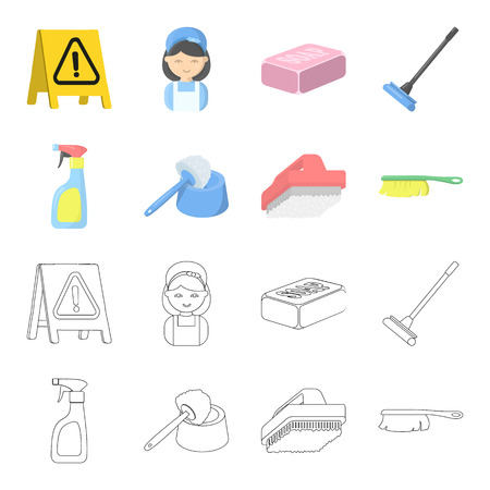 Cleaning and maid cartoon,outline icons in set collection for design. Equipment for cleaning vector symbol stock  illustration.