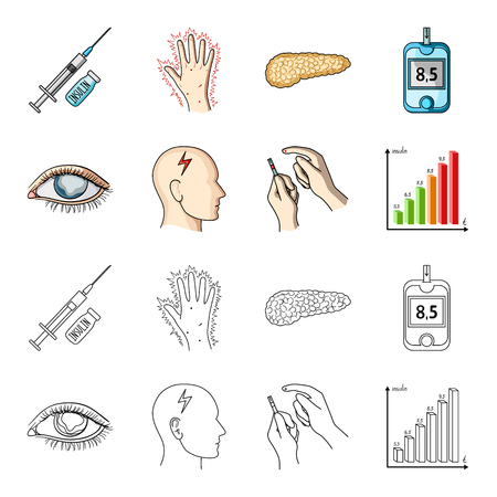 Poor vision, headache, glucose test, insulin dependence. Diabetic set collection icons in cartoon,outline style vector symbol stock illustration .