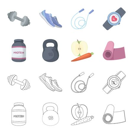 Protein, vitamins and other equipment for training.Gym and workout set collection icons in cartoon,outline style vector symbol stock illustration web. Stock Illustratie