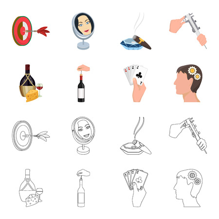 Bottle, a glass of wine and cheese, clogging with a corkscrew and other web icon in cartoon,outline style. A combination of cards in hand, a person head and an idea generator icons in set collection.