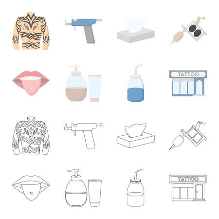 Piercing dans la langue, gel, sallon. Tatouage set icônes de collection en dessin animé, contour style vecteur symbole stock illustration web.