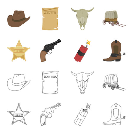 Star sheriff, Colt, dynamite, cowboy boot. Wild West set collection icons in cartoon,outline style vector symbol stock illustration web.