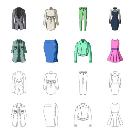 Women Clothing cartoon,outline icons in set collection for design.Clothing Varieties and Accessories vector symbol stock web illustration. Reklamní fotografie - 97943161