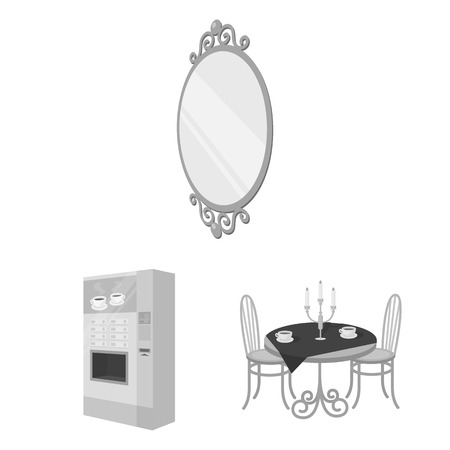 Furniture and interior monochrome icons in set collection for design. Home furnishings vector isometric symbol stock  illustration.