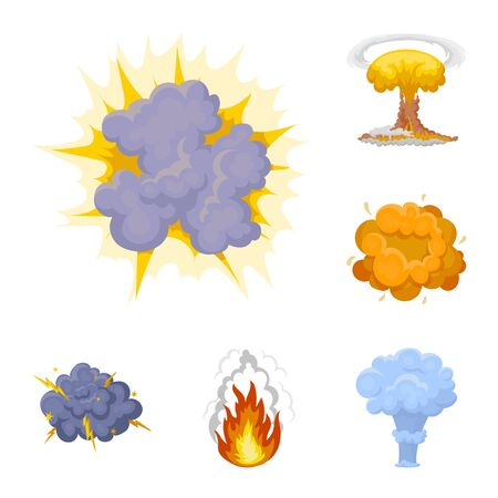 Different explosions cartoon icons in set collection for design. Flash and flame vector symbol stock illustration.