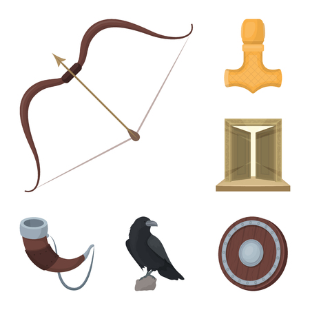 Vikings and attributes cartoon icons in set collection for design. Old Norse Warrior vector symbol stock illustration.