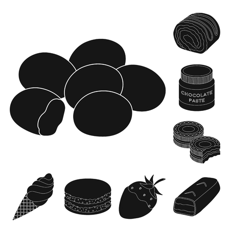 Chocolate Dessert black icons in set collection for design. Chocolate and Sweets vector symbol stock illustration. Vettoriali