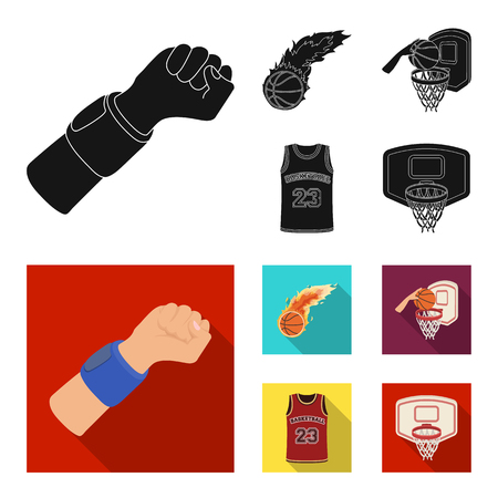Basketball and attributes black, flat icons in set collection for design. Basketball player and equipment vector symbol stock illustration.