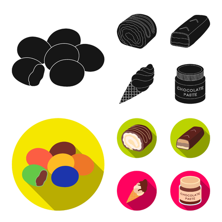 Dragee, roll, chocolate bar, ice cream. Chocolate desserts set collection icons in black, flat style vector symbol stock illustration Illustration