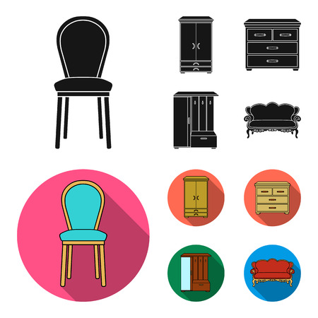 Armchair, cabinet, bedside, table. Furniture and home interior set collection icons in black, flat style vector symbol stock illustration Illustration