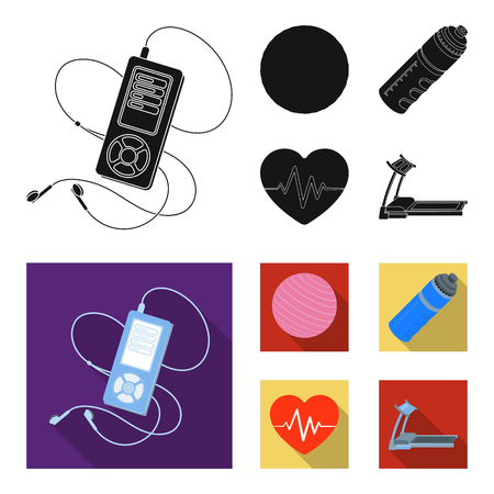 Player, a bottle of water and other equipment for training. Gym and workout set collection icons in black, flat style vector symbol stock illustration