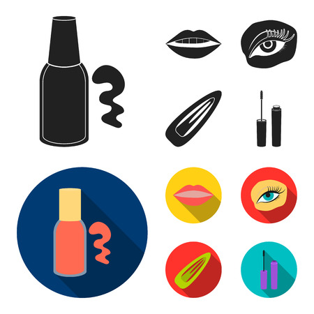 Nail polish, tinted eyelashes, lips with lipstick, hair clip. Makeup set collection icons in black, flat style vector symbol stock illustration Illustration