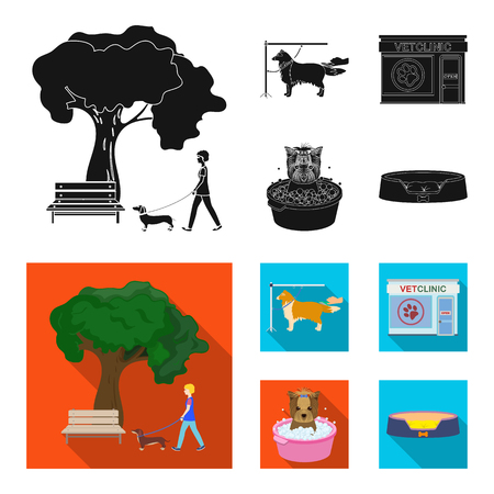 Veterinarian clinic and pet care set illustration Vettoriali