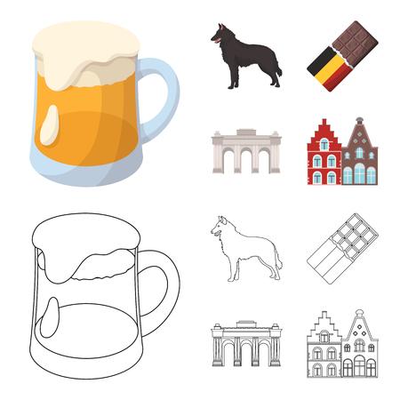Belgium set collection icons illustration Illustration
