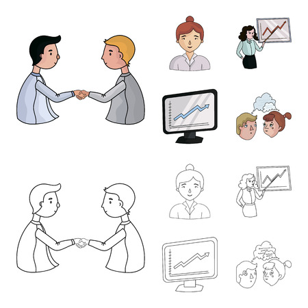 Business conference and negotiations set illustration