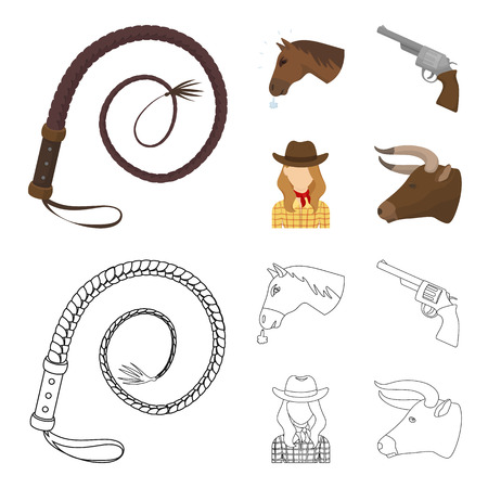 Rodeo set collection icons illustration Vectores