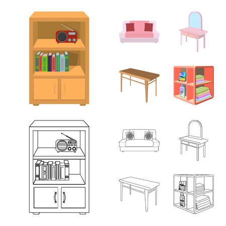 Furniture and interior set collection illustration Illustration