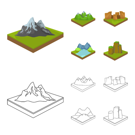 Relief and mountains set collection illustration